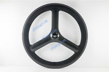 carbon tri spoke wheel front wheel 65 / 70mm depth  road/track bike 700C 3 spoke