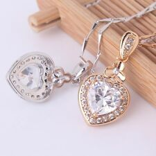 Antique heart white sapphire amazing gift 18k gold filled heart pendant necklace