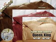 100% Goose Feather Down Comforters 95/5 Soft Bed Bedding Comforter, Queen, King