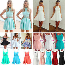Women's Summer Playsuit Sexy Chiffon Casual Party Evening Beach Short Mini Dress