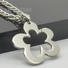 "4.5mm Stainless Steel Figaro Link Chain Flower Tag Pendant Necklace 18-36"" *101"