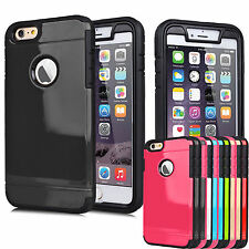 """Rugged Rubber Full Built-in Screen Case Cover For 4.7"""" 5.5"""" iPhone 6 / 6S Plus+"""