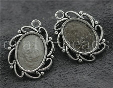 20/100pcs Tibetan Silver Cameo Cabochon Base Setting Charms Pendant 28x22mm