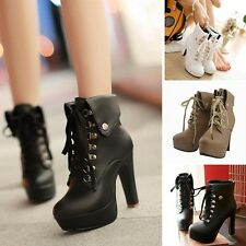 New Women's Lace-up Shoes Leather High Heel Stilettos Booties Winter Ankle Boots