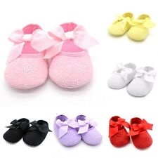 Newborn Child Baby Girl Bowknot Lace Up Sole Crib Shoes Cotton Sneakers Gifts