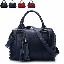 New Retro Fashion Rivet Genuine Leather Women Shoulder Tote Crossbody Bag