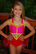 Pink yellow red competition dance costume CS tap jazz