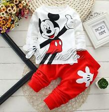 2PCS Toddler Baby Boys Kids Cartoon Mickey Mouse Tops Pants Trousers Outfit Set