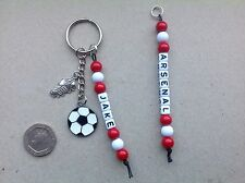 Handmade Personalised Name ARSENAL FC football team colours keyring bag tag