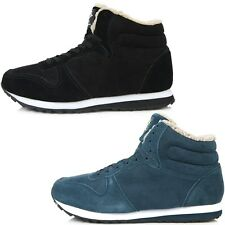 New Leather Simple Fashion Athletic Winter Warm Lace Up High Top Mens Shoes