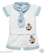 "NEW Aurora Royal Baby Boys "" Sailor Suit"" White & Blue Embroidered Shirt &Shorts"