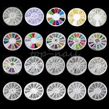 Top Nail 1 Wheel Nail art Acrylic Sticker Stud Rhinestone Multi-Color Manicure