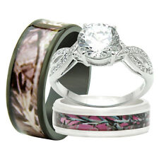 His and Hers Titanium Camo 925 Sterling Silver 3PC Engagement Wedding Rings Set