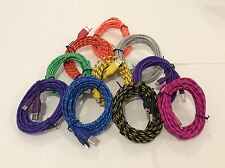 10FT (3M ) Colorful Nylon Braided Micro USB Charging Cord For Samsung LG Android