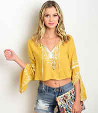 S-M-L CHARTREUSE Embroidered Boho Bell Sleeves Crop Top - Honey Punch