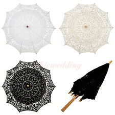 Vintage Battenburg Lace Wedding Parasol Umbrella for Bridal Photo Party Decor