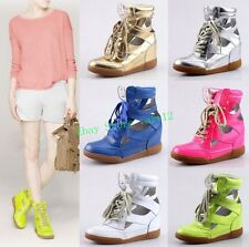 Womens Casual Hidden Wedge Heel Sport Sneaker  High Top Cut Out Lace Sandal Shoe