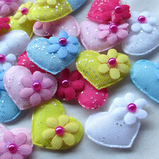 30/60/300PCS 32mm Padded Felt Sweet Heart Flower Appliques Craft Mix