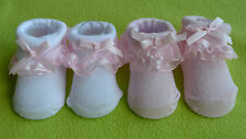 Pretty pink and white baby girl socks cotton and frilly organza spotty 0-6 month