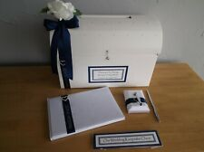 Personalised Wedding Post Chest Card Box Guest Book & Pen Keepsake Chest