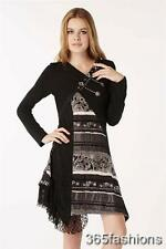Floral Lace Asymmetric Embroidered Knitted Tunic Dress Black Size 10-18