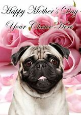 Pug Dog Mothers Day Personalised Greeting Card pidmother Mum Mummy