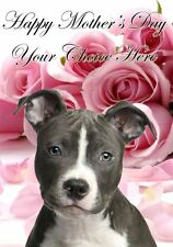 Staffie Mothers Day Personalised Greeting Card pidmother Mum Mummy