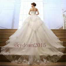 New Sequins Lace Crystals Customize Train Wedding Dress 2 4 6 8 10 12 14 16 18