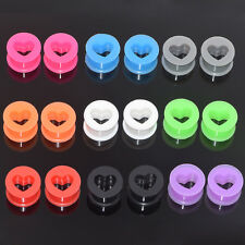 "Pair of Silicone Ear Plug Expander-Ear Flesh Tunnel-Ear Gauges 6g-1"" Multi-Color"