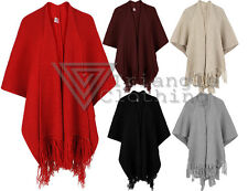 Womens Fringe Hem Drape Cardigan Oversized Shawl Open Waterfall Ribbed Knitted