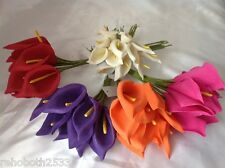 BUNCH OF 10 COLOURFAST FOAM CALLA LILY -  CHOOSE COLOUR WEDDING BUTTONHOLE CAKE