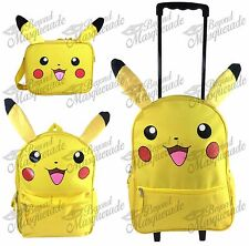 "16"" Pokemon Pikachu Kids Large Yellow Rolling Backpack Lunch Bag (1 piece)"
