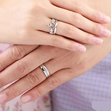 1 Pair Crystal Prince Princess Queen Silver Love Couple Rings Wedding Engagement