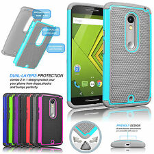 Hybrid Rugged Rubber Hard Case Cover For Motorola Moto X Play / Droid MAXX 2