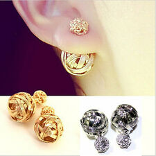 NEW ELEGANT DOUBLE SIDES TWO HOLLOWED GOLD PLATED BALLS WOMEN EAR STUDS EARRINGS