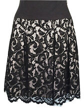New KAREN MILLEN Skirt Size 6 Lace Embroidered Black pleated Skater Evening