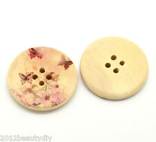 30PCs Hot Butterfly 4 Holes Round Wood Painting Sewing Buttons 30mm