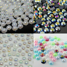 3~6mm 500~5000pcs 4 Colors AB Half Pearl Beads Flatback Pearls Scrapbook Craft