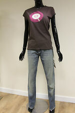Full Circle womens pale denim straight mid waist faded cotton jeans W28 L32 PAAL
