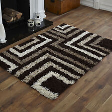 LARGE MEDIUM SMALL RUG 5CM HIGH PILE THICK NON-SHED CHOCOLATE CREAM SHAGGY RUGS