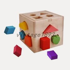 Baby Shape Color Cognition Assemble Toy Wooden Box Early Education Birthday Gift