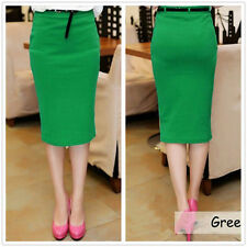 Newest Womens High Waisted Belted Pencil Skirt Stretch Bodycon Knee Length Skirt
