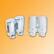 2 Chamber Pump Shampoo Conditioner Soap Dispenser White Silver Easy Refill