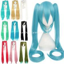 VOCALOID-Hatsune Miku Blue Green Anime Cosplay Wavy Wig Clip in on Ponytail s4
