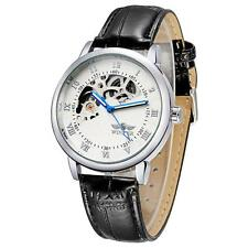 Mens Self-winding Mechanical Automatic Stainless Steel Leather Wrist Watch R3T5