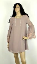S-M-L Walk in the Woods Chiffon Shift Dress-Lace Bell Sleeves-Mocha S-M-L