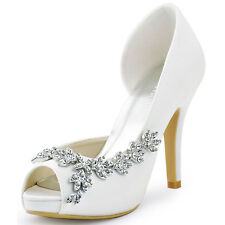 HP1560IAC High Heels Platform Pumps Peep Toe Rhinestone Satin Bridal Party Shoes