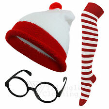 Mens Ladies Childrens Hat Socks Glasses Red White StripeTheme Party Fancy Dress