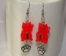 Handmade Japanese Maneki Neko Lucky Cat&Paw Pads Earrings Red From Japan