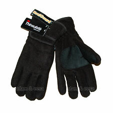 Mens Black Winter Gloves Thermal Fleece Lining Warm Ski Heat Guard Insulation